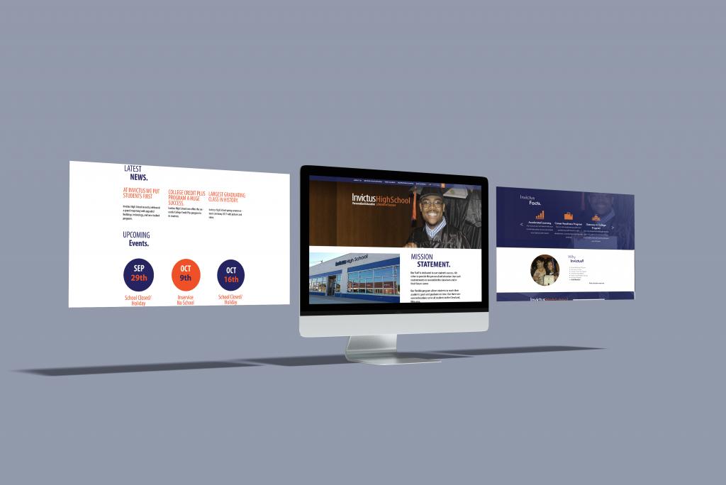 Web design mockup for Invictus High School