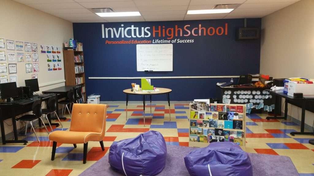 Logo decal at Invictus High School