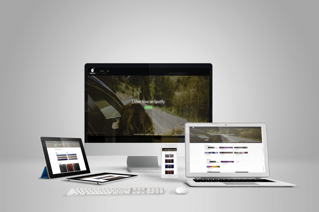 Responsive Web Design mockup for Audiodrive